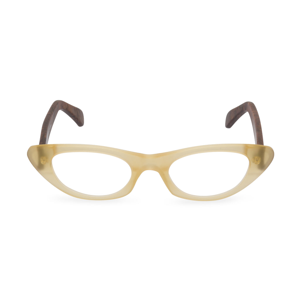 Pussy Galore Cat Eye Glasses - Champagne / Wood