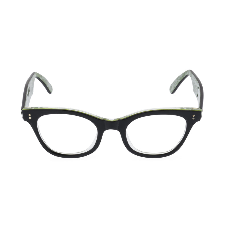 Sophisticat Cat Eye Glasses - Black / Green Lace