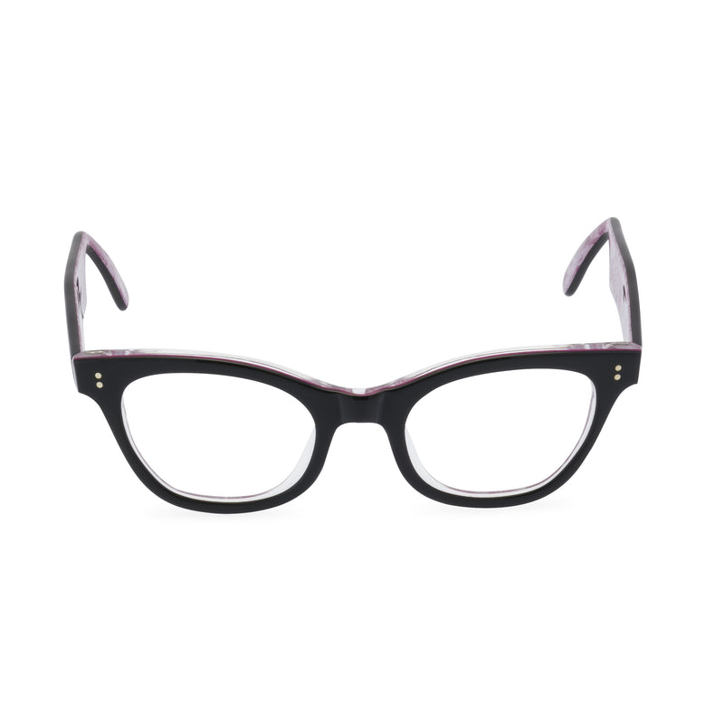 Sophisticat Cat Eye Glasses - Black / Pink Lace