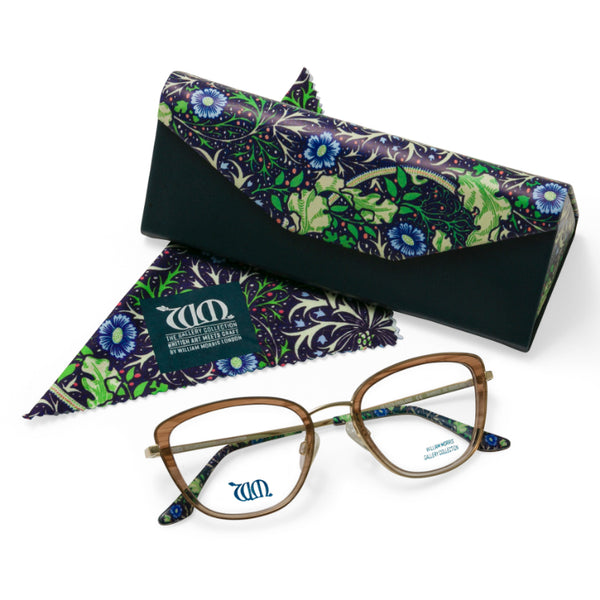 The Seaweed cat eye frame and matching case and cloth in brown from the William Morris Gallery Collection