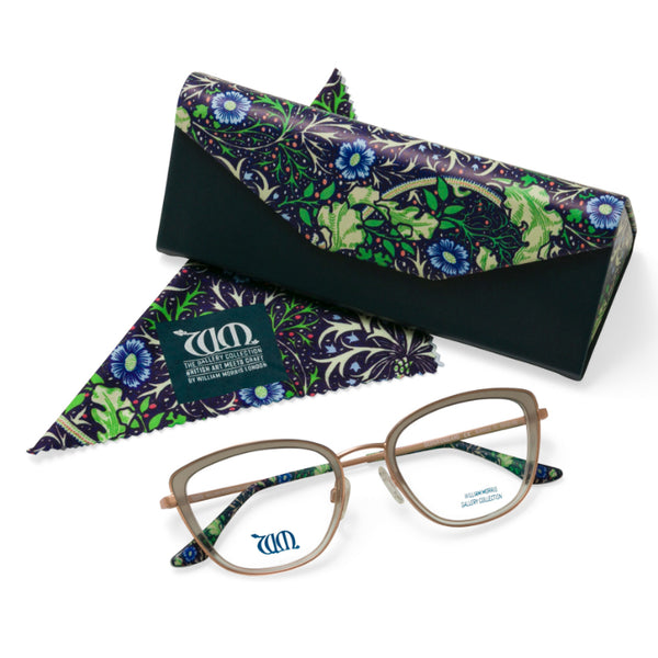 Seaweed cat eye frames in grey with matching case and cloth from the William Morris Gallery Collection