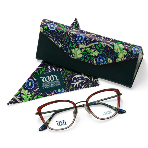 The Seaweed cat eye frame in rose with matching case and cloth from the William Morris Gallery Collection