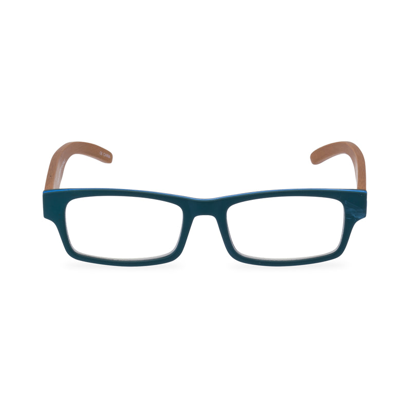 The Natural Rectangular Glasses - Blue Bamboo