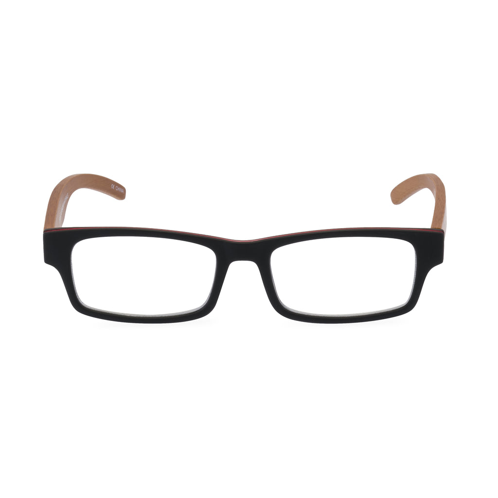 The Natural Rectangular Glasses - Black / Red