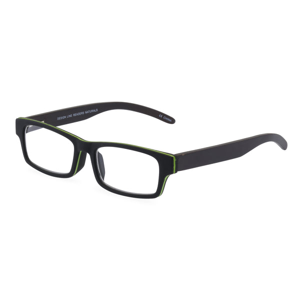 The Natural Rectangular Glasses - Black / Green