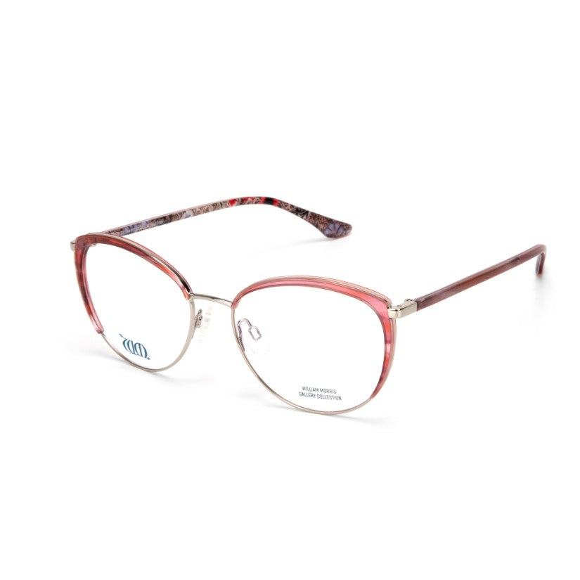 Gorgeous rose pink cat eye frame in Corncockle from William Morris Gallery collection side view