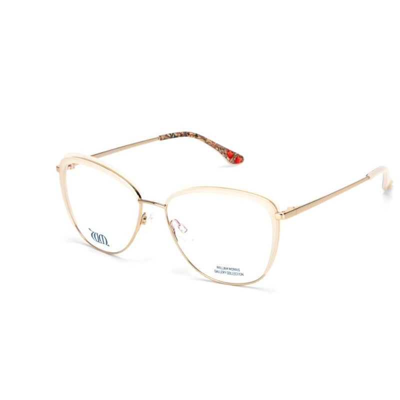 Golden Lily cat eye frame in cream  from the William Morris Gallery side view