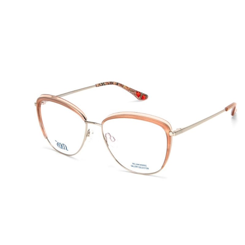 Golden Lily cat eye frame in Rose from the William Morris Gallery side view