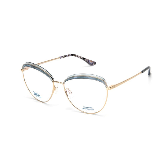 Lodden round frames in pale blue from the William Morris Gallery Collection, side view
