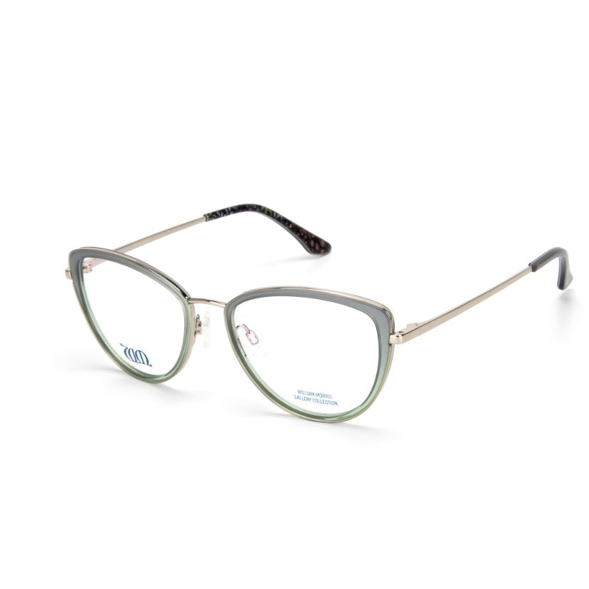 Millefleurs Cat Eye frame in green from the William Morris Gallery Collection side view
