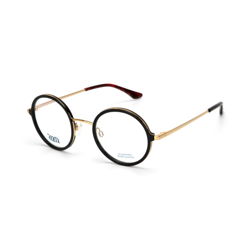 Poppy round frames in black from the William Morris Gallery Collection, side vew