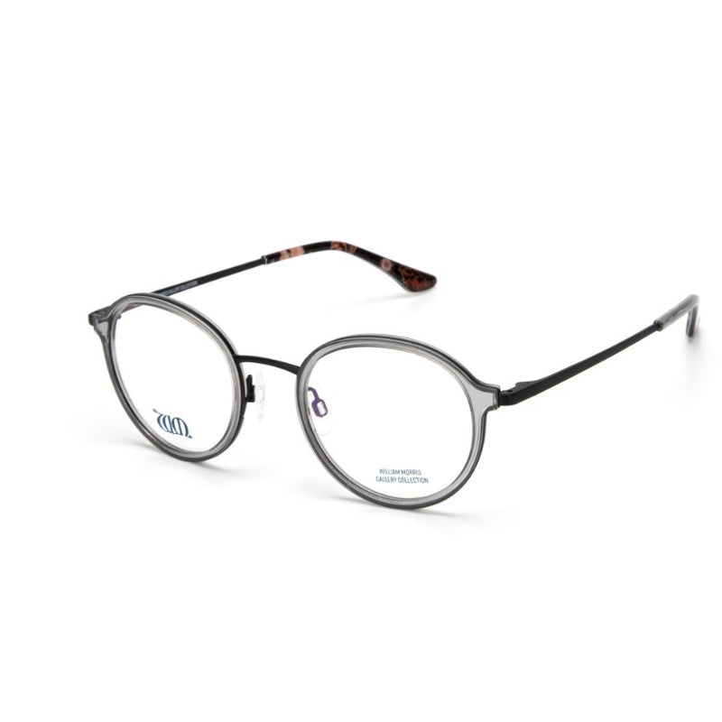 Riverwind round frames in crystal grey from the William Morris Gallery Collection, side view