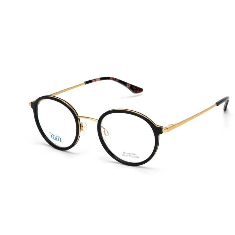 Riverwind round glasses in black from the William Morris Gallery Collection, side view
