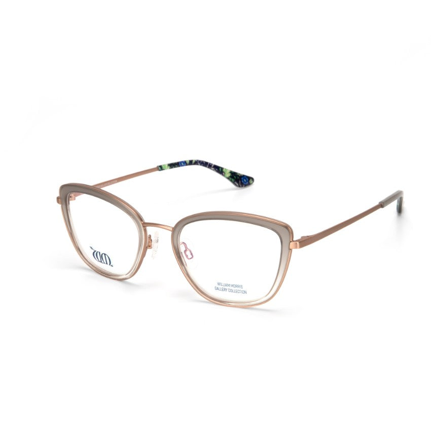 Seaweed cat eye frames in grey from the William Morris Gallery Collection side view