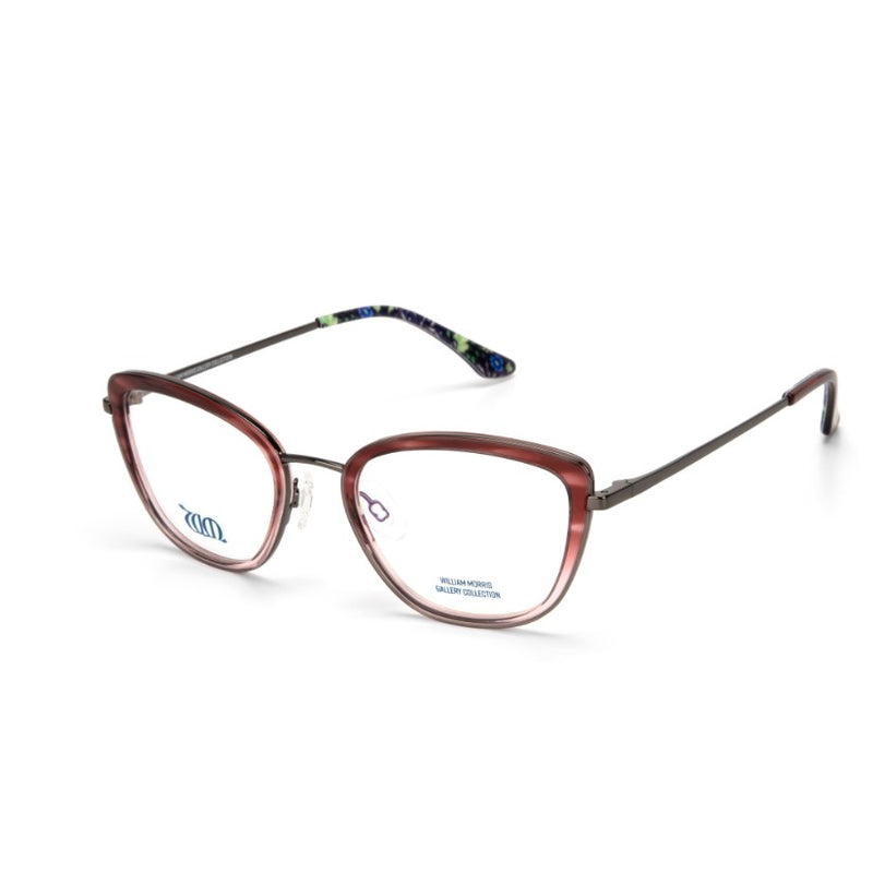 Seaweed cat eye frames in rose colour from the William Morris Gallery Collection, side view