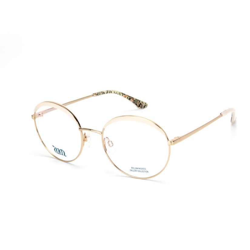 Willow Bough round glasses in cream from the William Morris Gallery Collection, side view