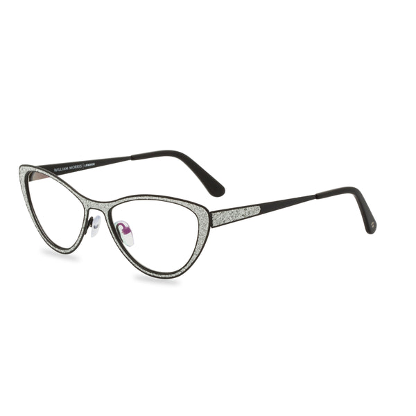 Zsa Zsa Cat Eye Glasses - Silver Black Glitter