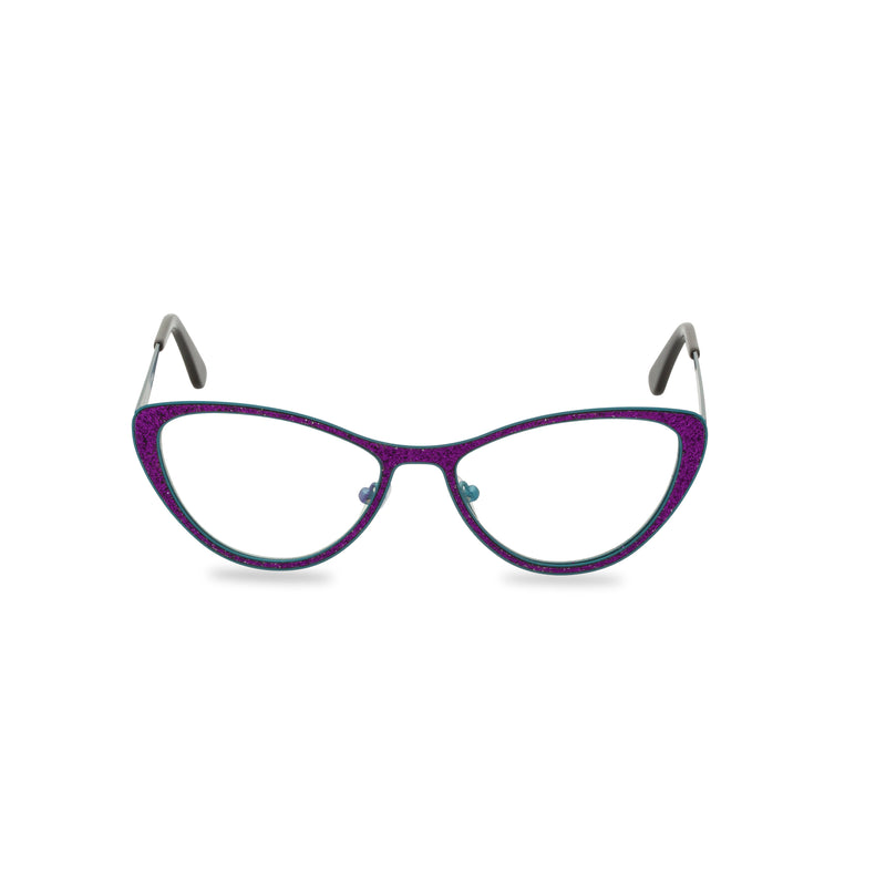 Zsa Zsa Cat Eye Glasses - Purple Blue Glitter