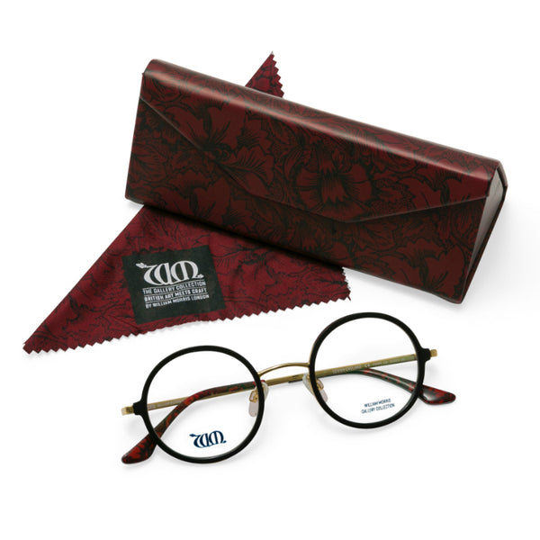 Poppy round frames in black with matching case and cloth from the William Morris Gallery Collection