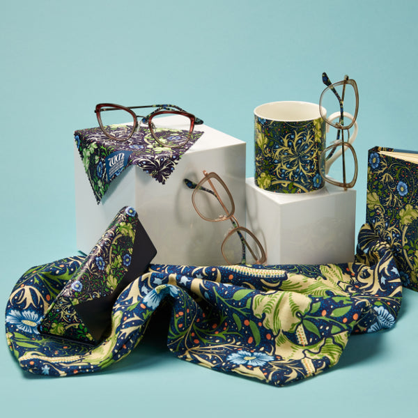 The Seaweed range of frames and matching cases and cloths from the William Morris Gallery Collection
