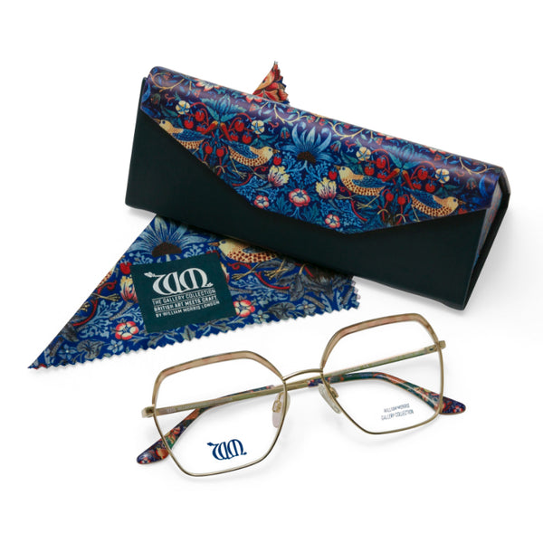 Strawberry Thief square frames in cream with matching case and cloth from the William Morris Gallery Collection