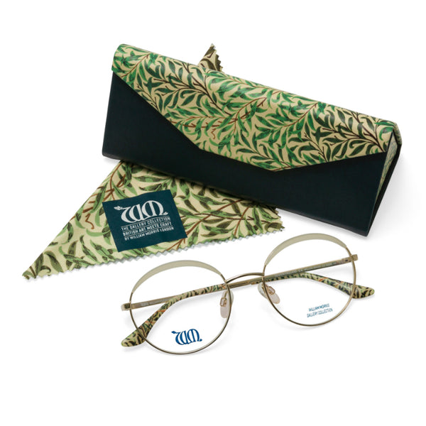Willow Bough round glasses in cream with matching case and cloth, from the William Morris Gallery Collection