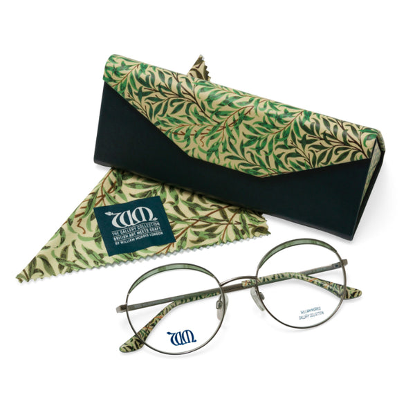 Willow Bough round glasses in green with matching case and cloth, from the William Morris Gallery Collection