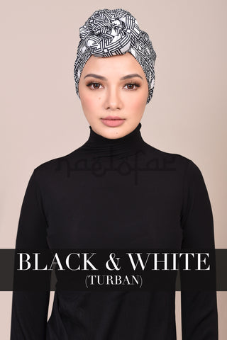 NEELOFA EDITION TURBAN - BLACK & WHITE