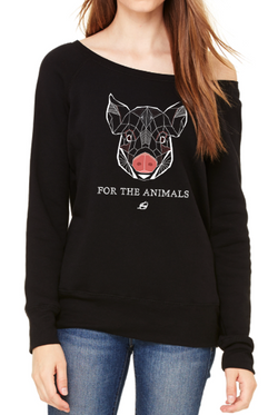 For The Animals - Pig Polygon Women's Wide Neck Sweatshirt