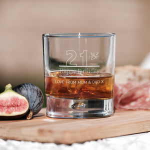 Premium Engraved Bubble Whiskey Tumbler Glass - Design 2