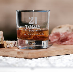 Premium Engraved Bubble Whiskey Tumbler Glass - Design 6