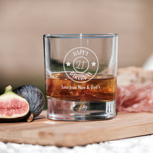 Premium Engraved Bubble Whiskey Tumbler Glass - Design 7