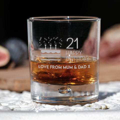 Premium Engraved Bubble Whiskey Tumbler Glass - Design 8