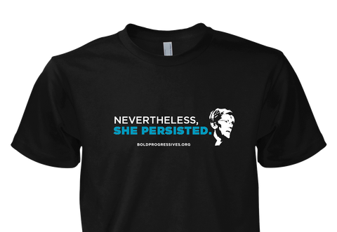 She Persisted Shirt - Black with Blue & White