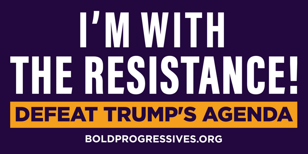 """I'm with the Resistance! Defeat Trump's Agenda"" Bumper Sticker"