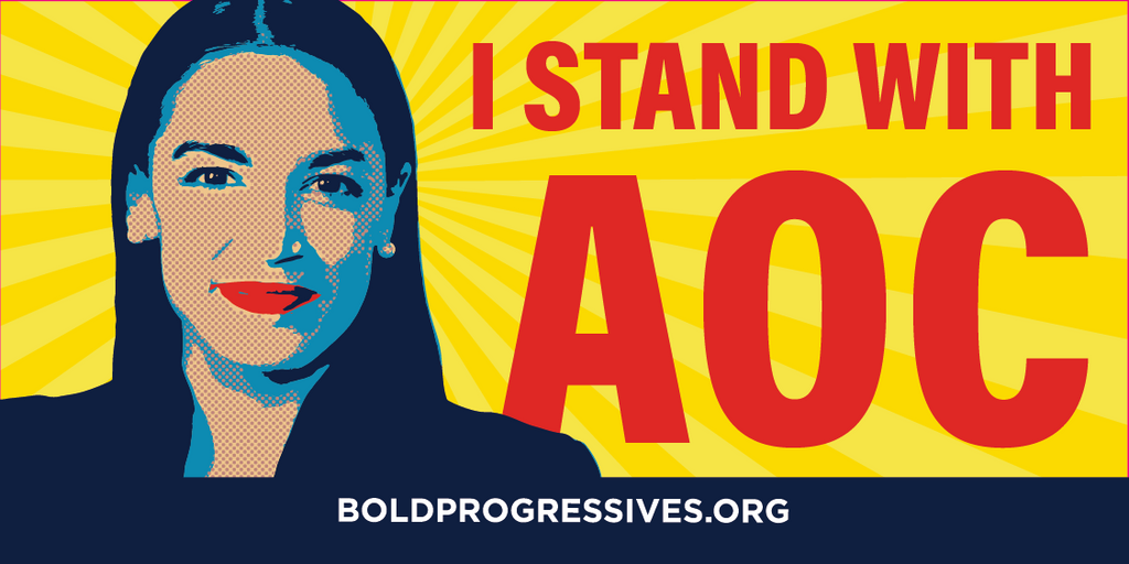 """I Stand with AOC"" Bumper Sticker"