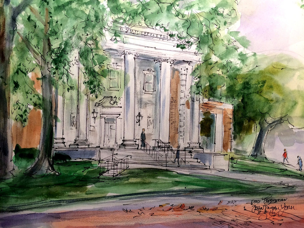 First Presbyterian Church Entrance, Original Watercolor, matted and framed