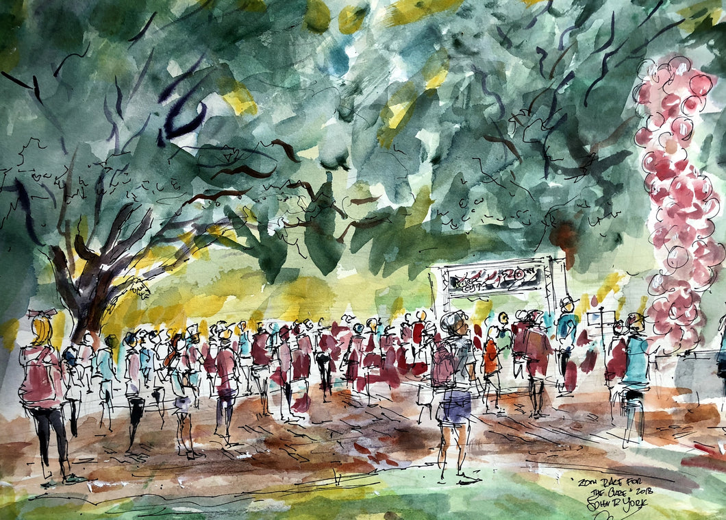 20th Annual Race For The Cure, Live Painting by American Watercolor Artist John York