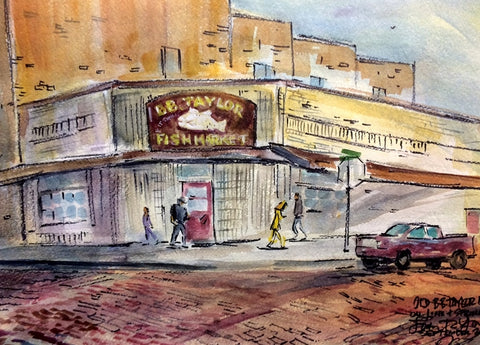 B. B. Taylor Market, Line & Spring St., Tyler, Texas, Watercolor Painting, Artist John Randall York, 15 x 22 inches, unframed