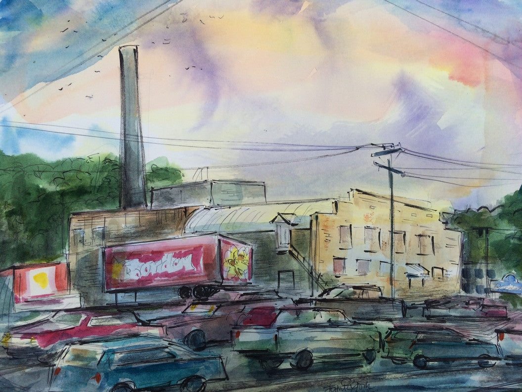 Borden's Warehouse, Original Watercolor