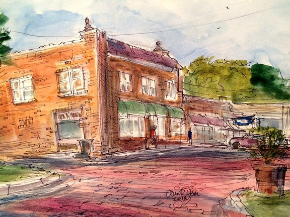 Brick Street Village, Original watercolor, 11 x 15 inches, framed