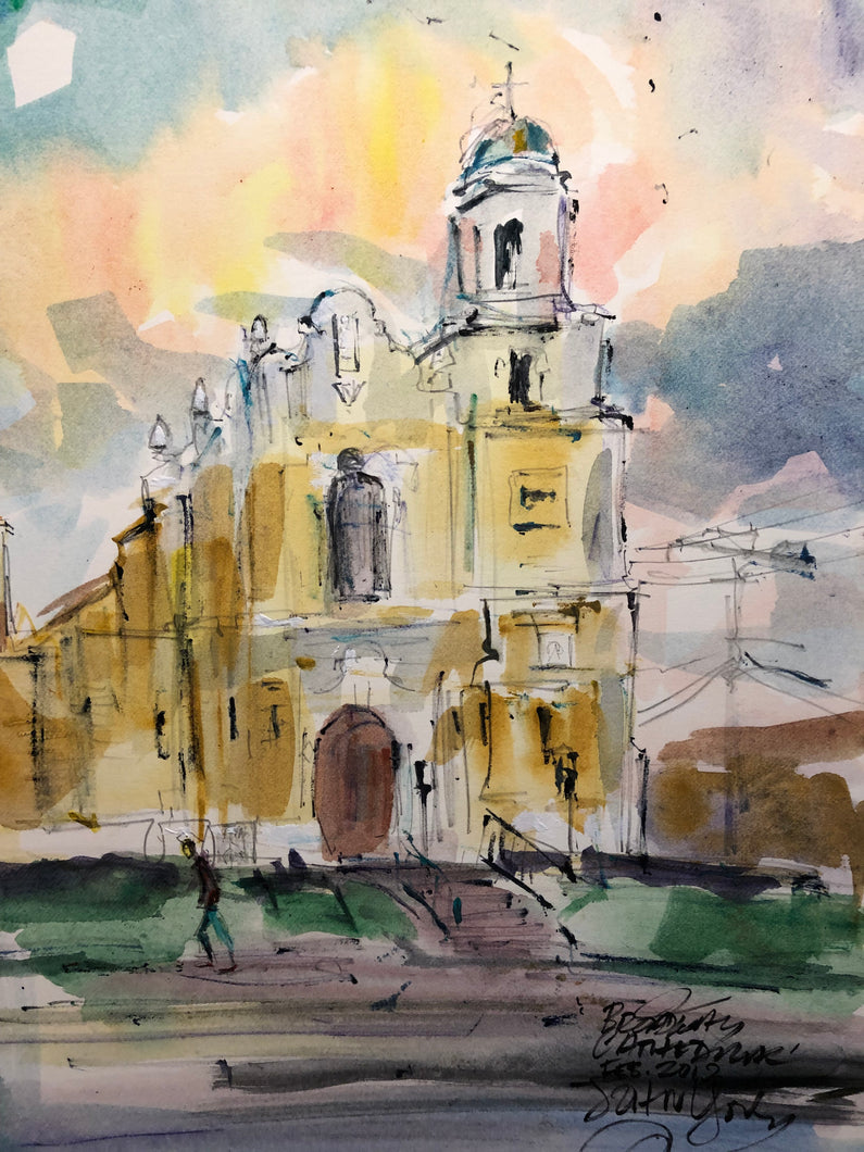 Broadway Cathedral, February 4th,  2019 By American Watercolorist John York 11 x 15 inches