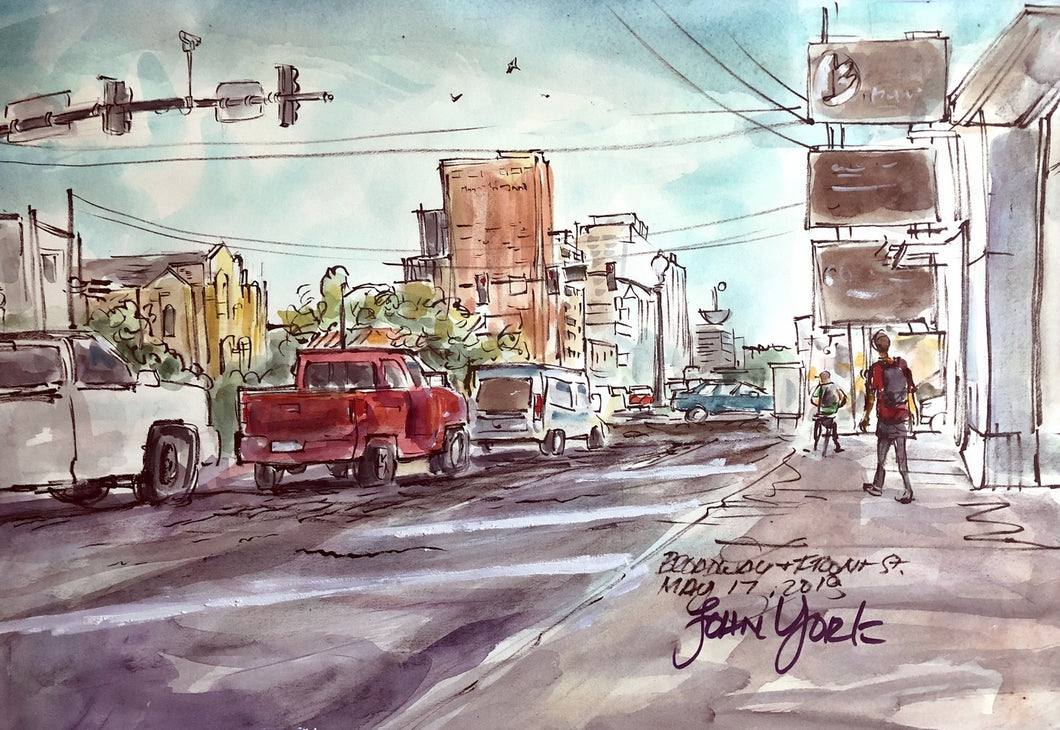 Broadway and Front St. by John York American Watercolorist, 15 x 22 inches, unframed