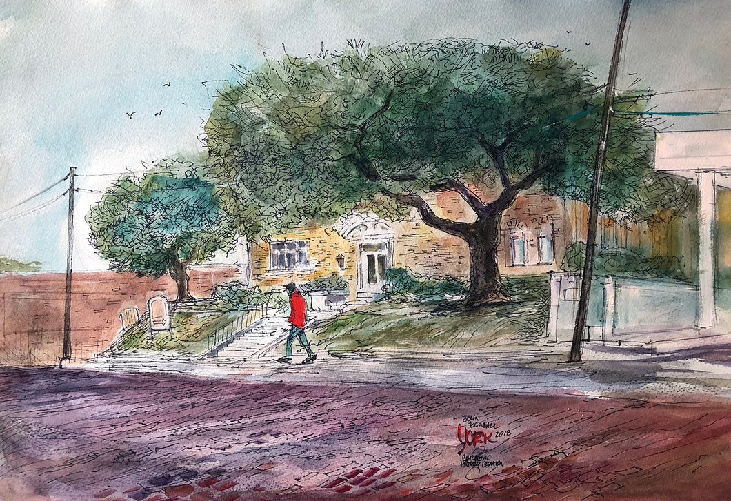 Carnegie History Center, Tyler, Texas Artist John York, watercolor, 15 x 22 inches, unframed
