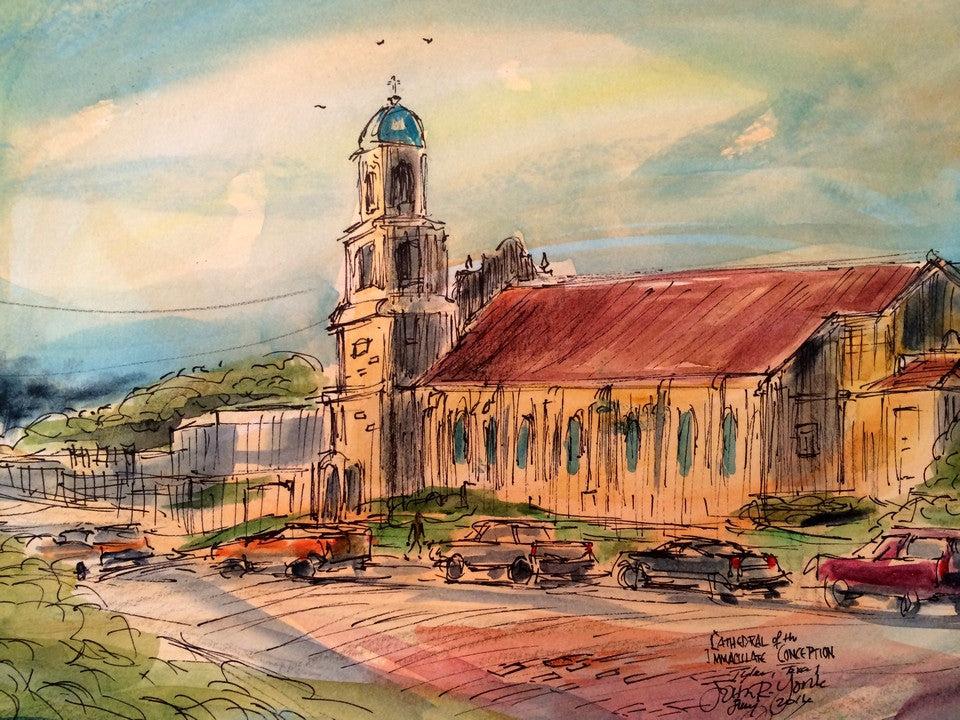 Immaculate Conception Cathedral, Original Watercolor, 11 x 15 inches, framed