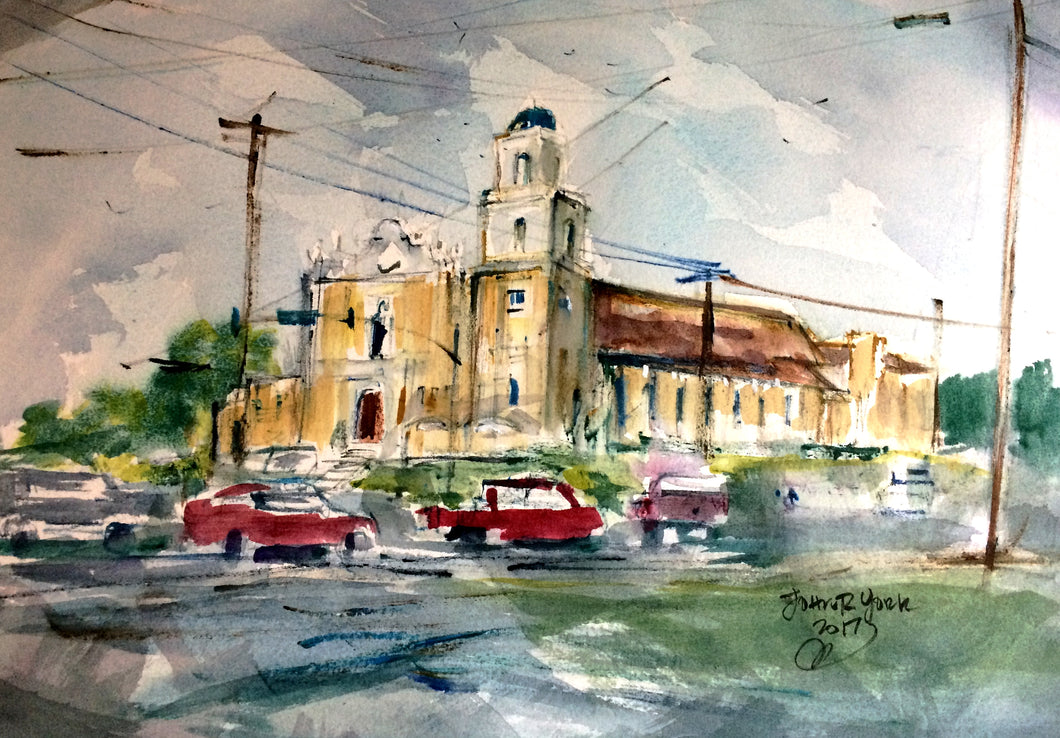Cathedral of the Immaculate Conception 2017 by John York, American Watercolor Artist ,15 x 22 inches, unframed