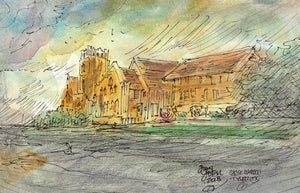 Christ Church Tyler, Texas Watercolor Sketch by John York 7 1/2 x 11 inches, unframed