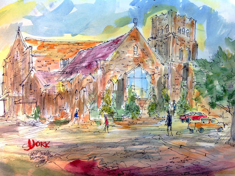 """Christ Church Colors"" by Texas Watercolorist John York, 15 x 20 inches, unframed"