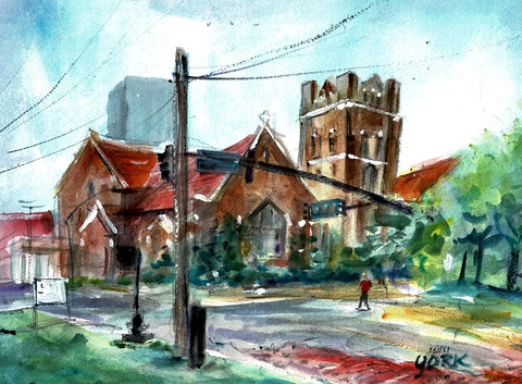Christ Church Tyler 2019 by John York, Texas Watercolor Artist, 11 x 15 inches, unframed