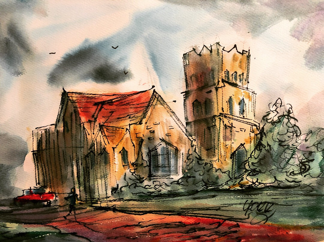 Christ Church Tyler, Texas In Crayola Markers, by John York, 7 /12 x 11 inches, unframed